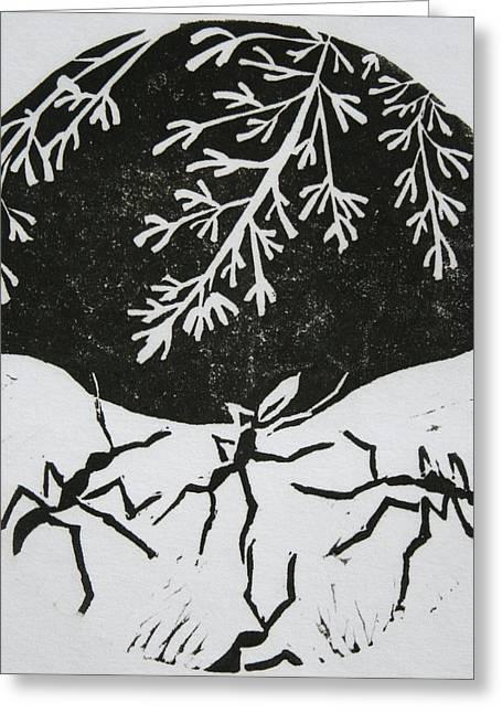 Lino Cut Mixed Media Greeting Cards - Yin Yang Greeting Card by Pati Hays