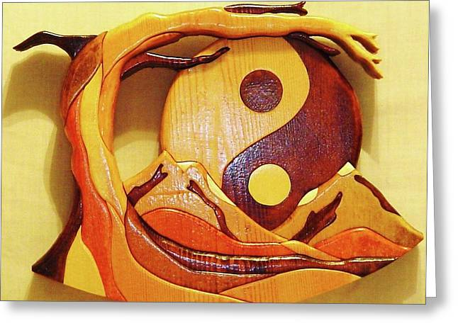 Symbol Sculptures Greeting Cards - Yin Yang Greeting Card by Russell Ellingsworth