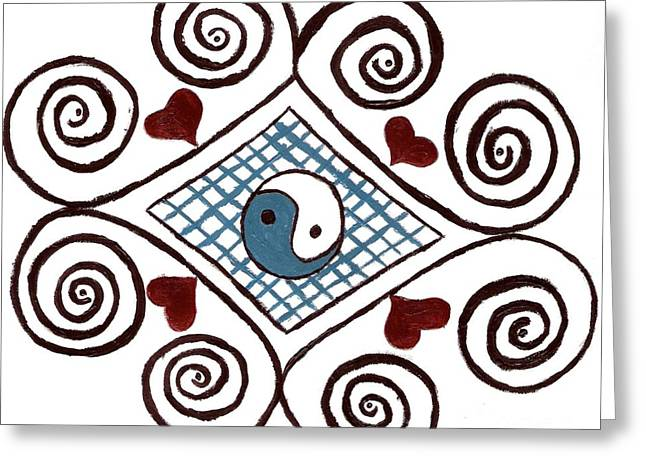 Ying Drawings Greeting Cards - Yin Yang Swirls Greeting Card by Jeannie Atwater Jordan Allen