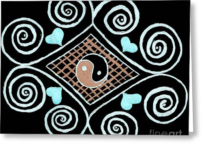 Jordan Drawings Greeting Cards - Yin Yang Swirls on Black Greeting Card by Jeannie Atwater Jordan Allen