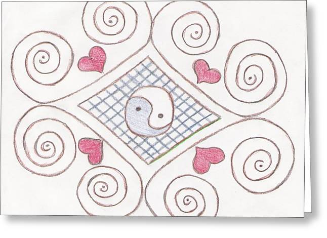 Yin Yang Swirls Pastel Greeting Card by Jeannie Atwater Jordan Allen