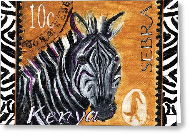 Zebra Picture Prints Greeting Cards - Yipes Z-Stripes Greeting Card by Debbie McCulley