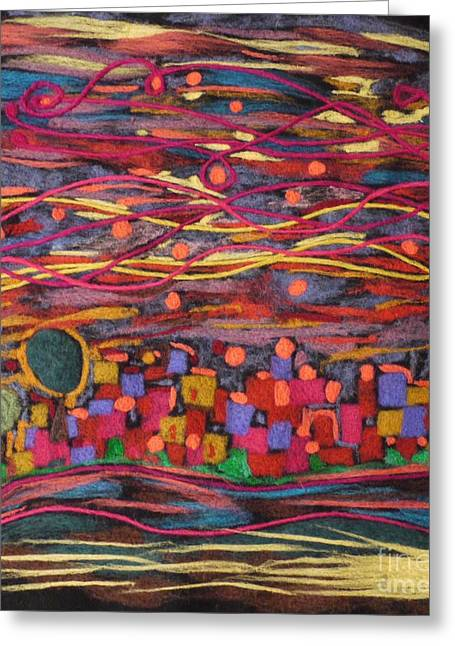 Wool Tapestries - Textiles Greeting Cards - Yiskor Greeting Card by Heather Hennick