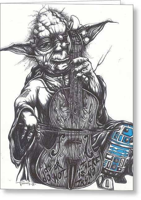 Science Fiction Greeting Cards - Yoda Soothes Baby R2 With the Charm of His Homegrown Cello Greeting Card by Iosua Tai Taeoalii
