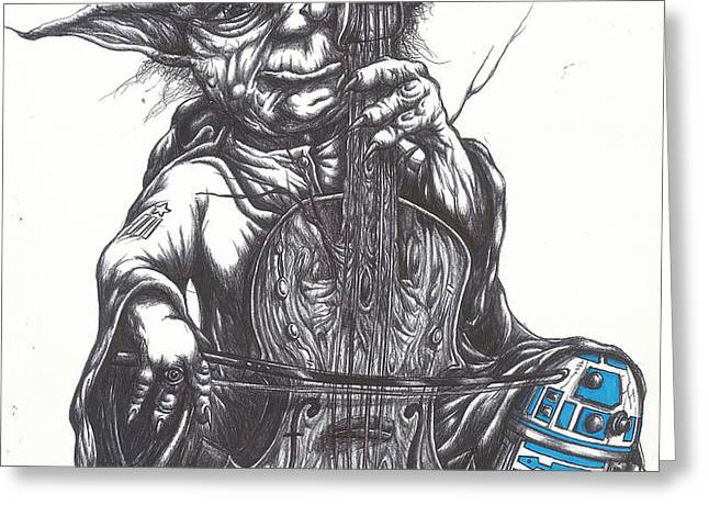 Yoda Soothes Baby R2 With the Charm of His Homegrown Cello Greeting Card by Iosua Tai Taeoalii