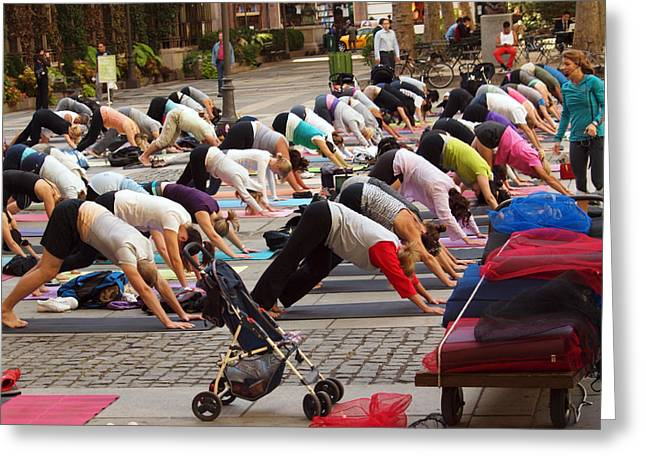 Bryant Greeting Cards - Yoga at Bryant Park Greeting Card by Luis Lugo