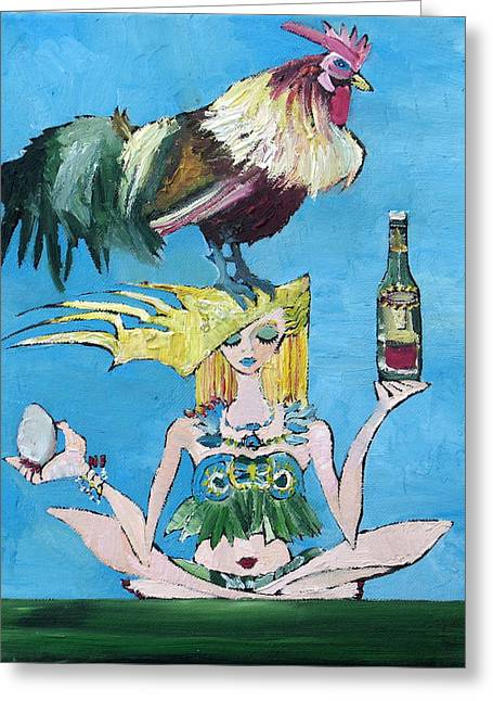 Bird Bottle Greeting Cards - YOGA GIRL with COCK - BOTTLE of WINE and EGG Greeting Card by Fabrizio Cassetta