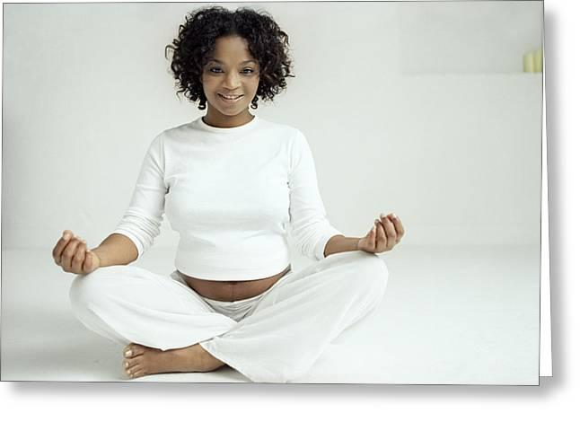 Yoga In Pregnancy Greeting Card by Ian Boddy