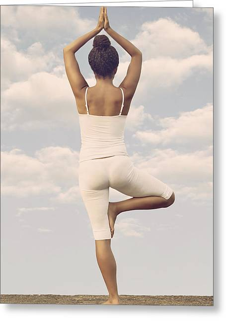 African Clothing Greeting Cards - Yoga Greeting Card by Joana Kruse