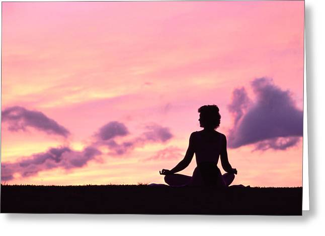 Yoga On Beach Greeting Card by Greg Vaughn - Printscapes