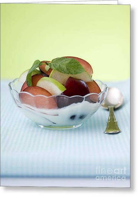 Health Food Greeting Cards - Yogurt and fruit  Greeting Card by Shahar Tamir