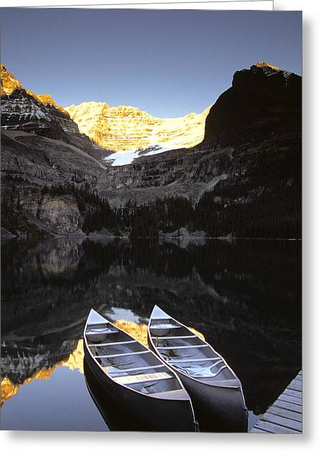 Canoe Photographs Greeting Cards - Yoho National Park, Lake Ohara, British Greeting Card by Ron Watts