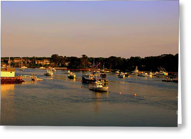 Lobsterboat Greeting Cards - York  Harbor with  refelcting sunset Greeting Card by Leonard Malvone