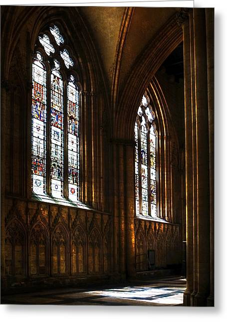 Soaring Tower Greeting Cards - York Minster Greeting Card by Svetlana Sewell