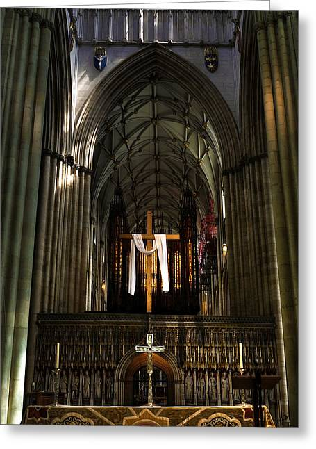 Soaring Tower Greeting Cards - York Minster01 Greeting Card by Svetlana Sewell
