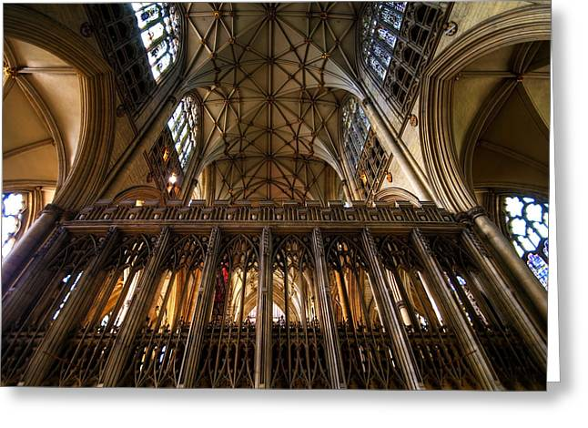Soaring Tower Greeting Cards - York Minster03 Greeting Card by Svetlana Sewell