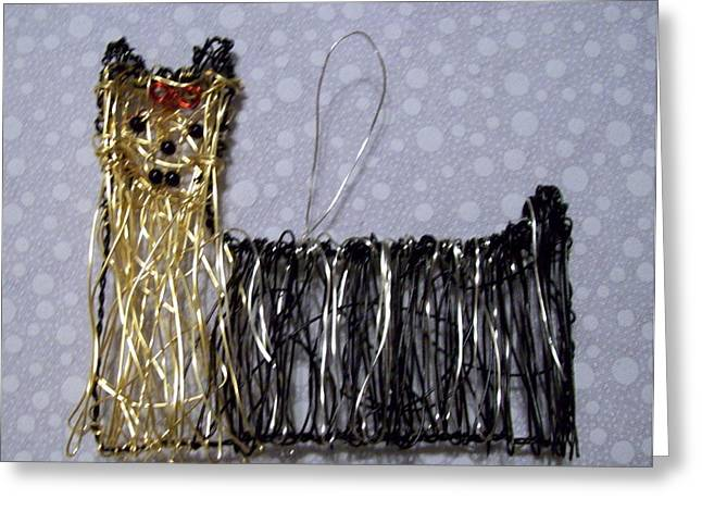 Silver Sculptures Greeting Cards - Yorkie Greeting Card by Charlene White