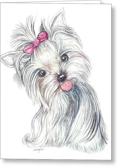 Cute Mixed Media Greeting Cards - Yorkie Puppy Greeting Card by Morgan Fitzsimons