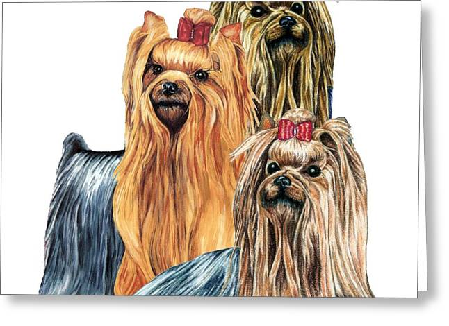 Dog Portrait Greeting Cards - Yorkshire Terriers Greeting Card by Kathleen Sepulveda