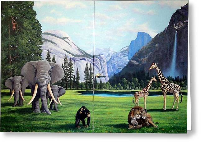 Chimpanzee Paintings Greeting Cards - Yosemite Dreams Greeting Card by Frank Wilson