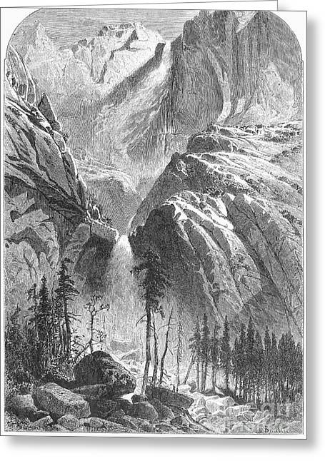 1874 Greeting Cards - Yosemite Falls, 1874 Greeting Card by Granger