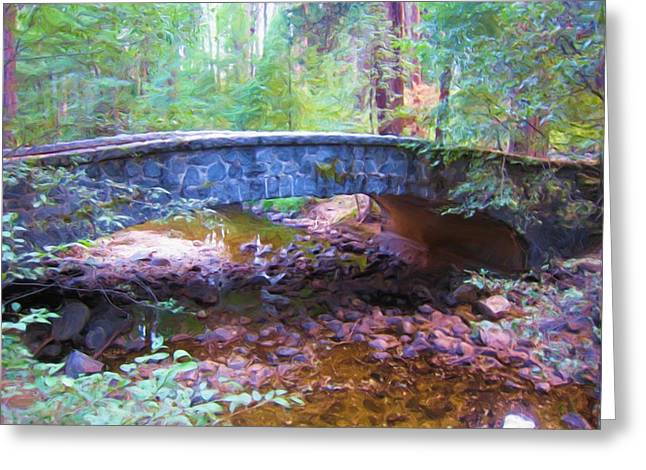 Yosemite Creek Greeting Cards - Yosemite Falls Creek And Bridge Greeting Card by Heidi Smith