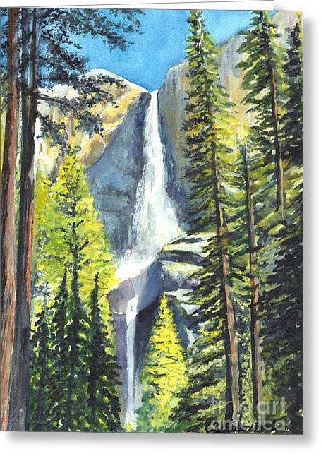Geology Drawings Greeting Cards - Yosemite Falls Watercolor Painting Greeting Card by Carol Wisniewski
