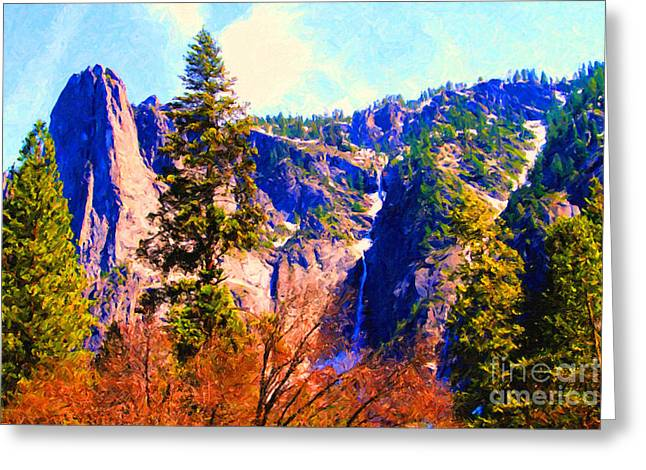 Bierstadt Greeting Cards - Yosemite In The Fall . 7D6287 Greeting Card by Wingsdomain Art and Photography