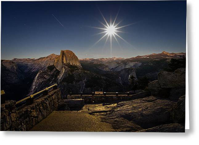 Half Dome Greeting Cards - Yosemite National Park Half Dome Full Moon Greeting Card by Scott McGuire