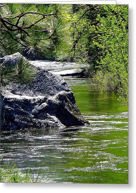 Yosemite In The Summer Greeting Cards - Yosemite River Boulder Greeting Card by Jeff Lowe