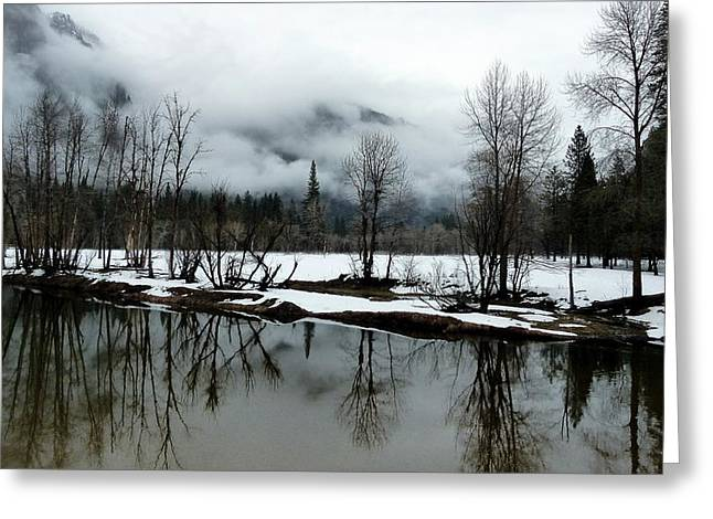 Best Sellers -  - Reflections Of Trees In River Greeting Cards - Yosemite River View in Snowy Winter Greeting Card by Jeff Lowe
