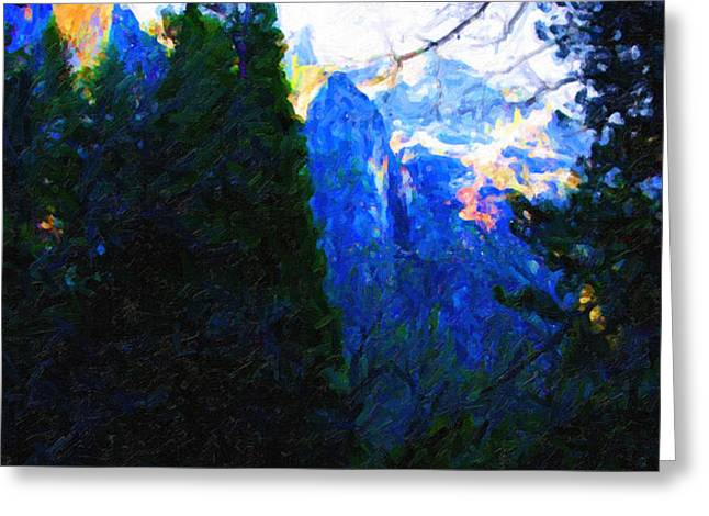 Yosemite Snow Mountain Tops . Vertical Cut Greeting Card by Wingsdomain Art and Photography