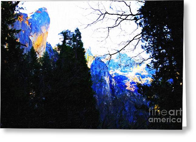 Yosemite Snow Top Mountains Greeting Card by Wingsdomain Art and Photography