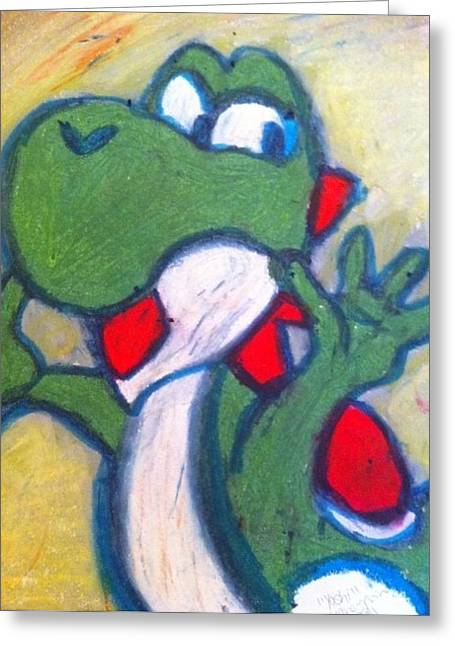 Dinosaurs Pastels Greeting Cards - Yoshi Greeting Card by Courtney Gainey