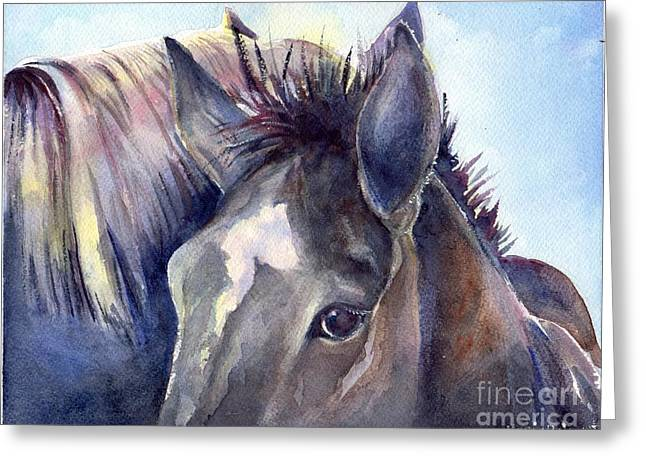 Quarter Horses Paintings Greeting Cards - You And Me Against The World Greeting Card by Maria