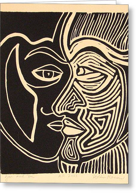 Linocut Drawings Greeting Cards - You and Me Greeting Card by Rollin Kocsis