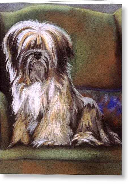 Terrier Pastels Greeting Cards - You Are In My Spot Again Greeting Card by Barbara Keith