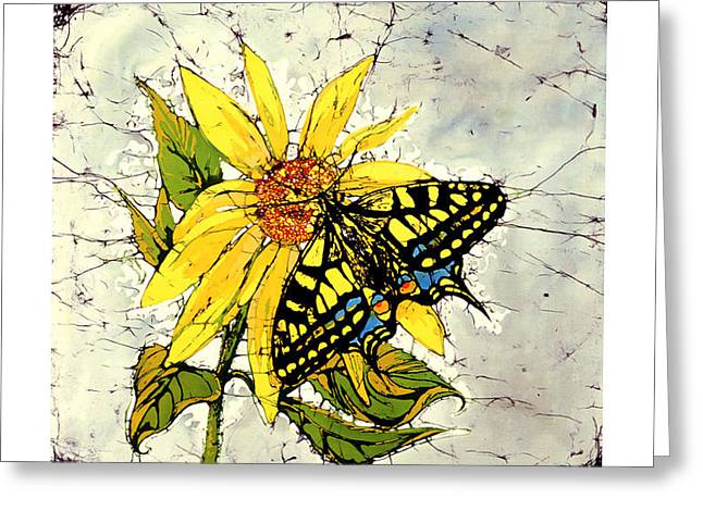 Yellow Sunflower Tapestries - Textiles Greeting Cards - You Are My Sunshine Tiger Swallowtail and Sunflower Greeting Card by Kathy Tsonas