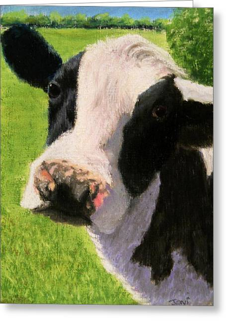 Moos Print Greeting Cards - You Looking at Me Cow Painting Greeting Card by Joan Swanson