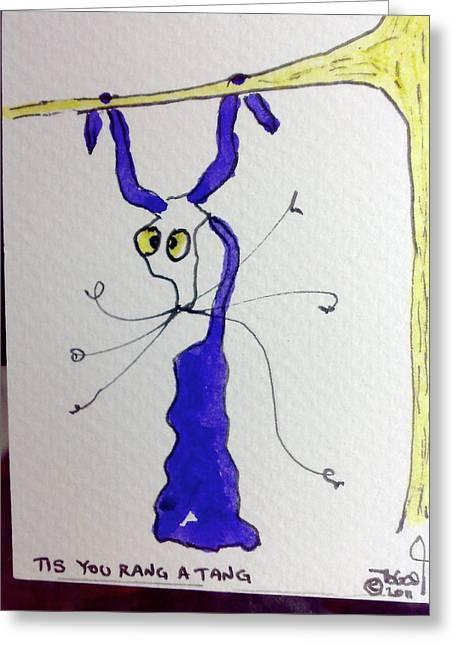 Orangutan Drawings Greeting Cards - You Rang a Tang Greeting Card by Tis Art
