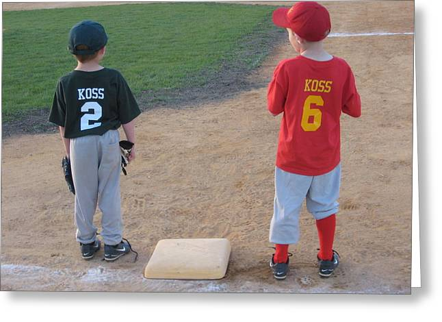 Baseball Shirt Greeting Cards - You Were Out. Greeting Card by Jeffrey Koss