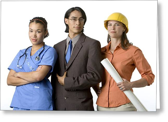 Businesspeople Greeting Cards - Young Adults With Careers In Medicine Greeting Card by Dawn Kish