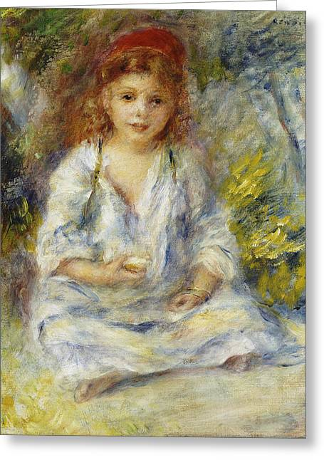 Young Algerian Girl Greeting Card by Pierre Auguste Renoir
