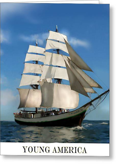 Pirate Ships Greeting Cards - Young America Poster Greeting Card by Jann Paxton