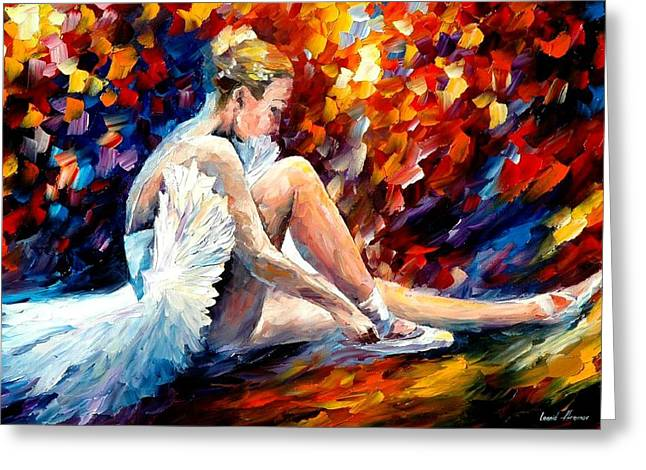 Dancer Art Greeting Cards - Young Ballerina Greeting Card by Leonid Afremov