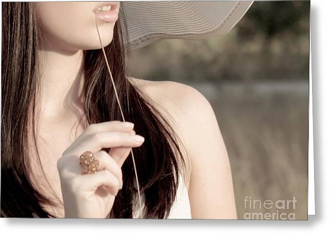 Female. Sensitivity Greeting Cards - Young beautiful woman Greeting Card by Iryna Shpulak