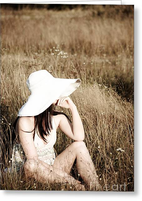 Female. Sensitivity Greeting Cards - Young beautiful woman with hat Greeting Card by Iryna Shpulak