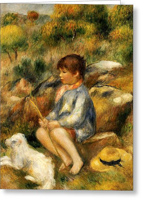 Renoir Greeting Cards - Young Boy by a Brook Greeting Card by Pierre Auguste Renoir