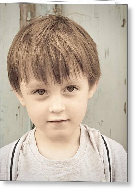 Innocence Greeting Cards - Young boy Greeting Card by Tom Gowanlock