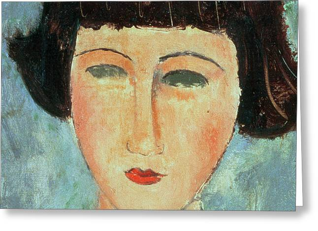 Close Up Paintings Greeting Cards - Young Brunette Greeting Card by Modigliani